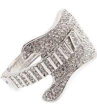 Stunning Statement Silver Guitar Crystal Cuff Bangle Bracelet Rocks Boutique