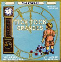 Villa Park Orange County Tick-tock 2 Orange Citrus Fruit Crate Label Print