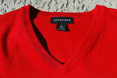 Lands' End Gentleman's Medium (38/40) Bright Red V-Neck 100% Cotton Sweater Vest