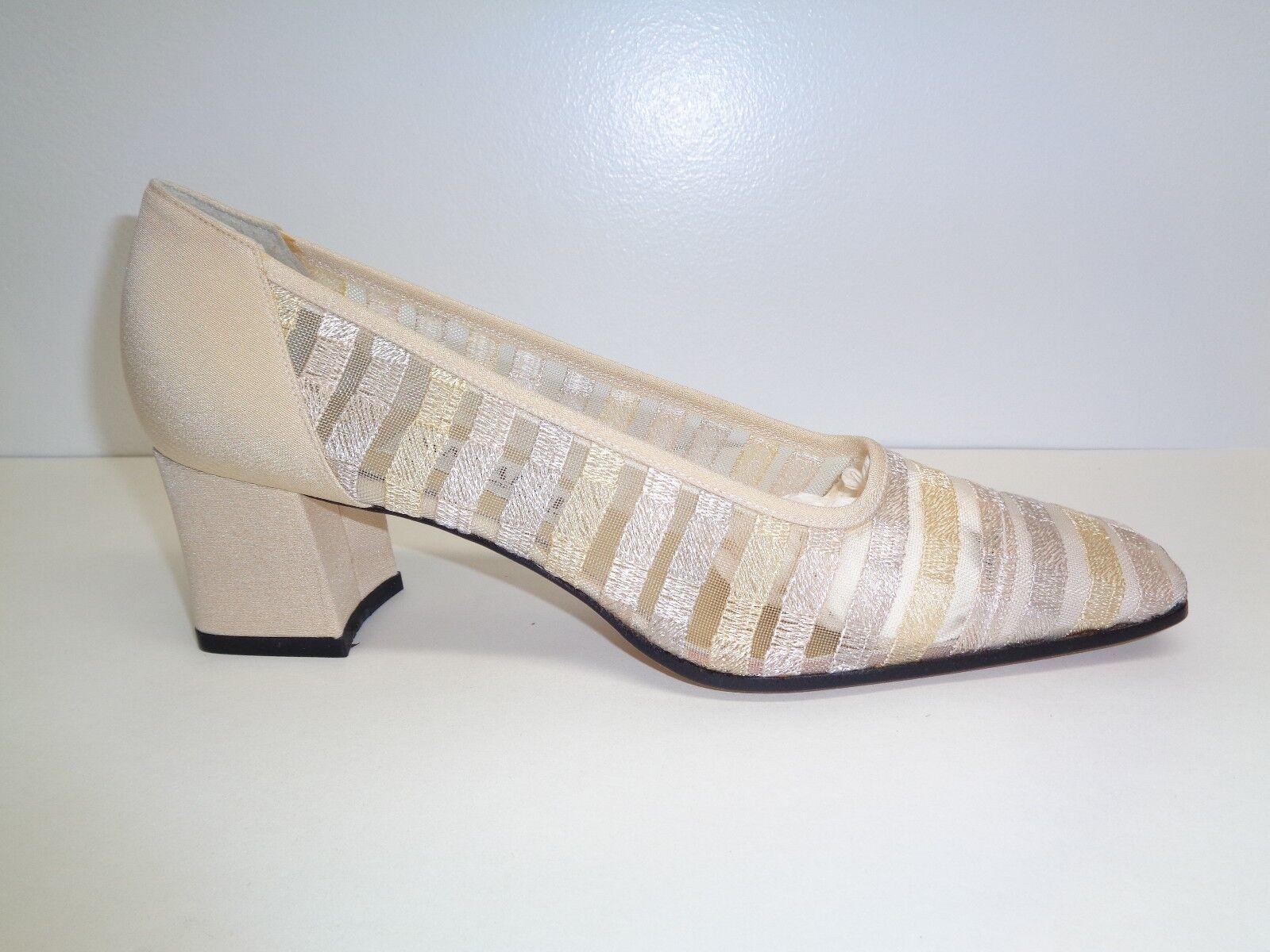 Pancaldi Size 8 AA Narrow P9041 Beige Mesh Shoes Fabric Heels Pumps New Womens Shoes Mesh be7628