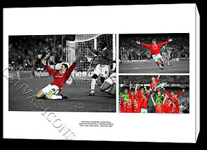 Image is loading MANCHESTER-UNITED-CANVAS-PRINT-POSTER-PHOTO-GOAL-WALL- & MANCHESTER UNITED CANVAS PRINT POSTER PHOTO GOAL WALL ART 1999 ...