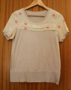 Oasis-Top-Ivory-Polka-Dots-Short-Sleeves-Cotton-Blend-UK-10-approx
