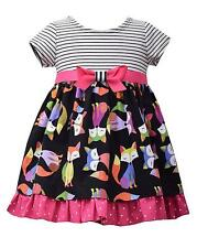 New Girls Bonnie Jean sz 3T Black Pink Stripe FOX Poplin Dress Clothes Fall NWT