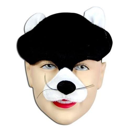 Half Face Black /& White Cat Kitten Animal Mask  Fancy Dress Costume