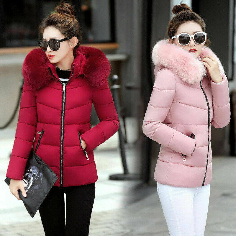 c05771f56 Winter Women's Down Cotton Parka Short Fur Collar Hooded Coat Quilted  Jacket HOt