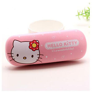 New-Cute-For-Hello-Kitty-Head-Glasses-Eyeglass-Case-Holder-Box-Kids-Gift-Pink