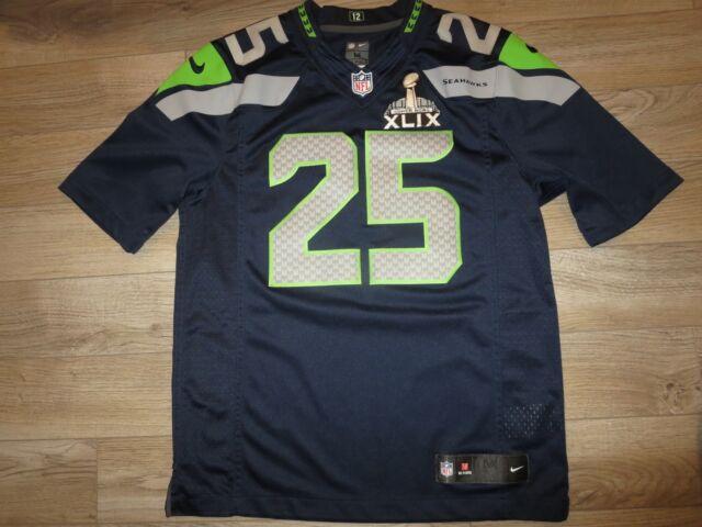 e11b1895 Richard Sherman #25 Seattle Seahawks Super Bowl Nike On Field NFL Jersey M  Med