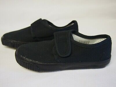 Nett Kids / Small Adults Unisex Hook & Loop Plimsolls - Black FüR Schnellen Versand