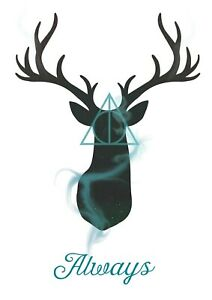 HARRY POTTER STAG ALWAYS QUOTE WATERCOLOUR WALL ART POSTER PRINT A1 - A5