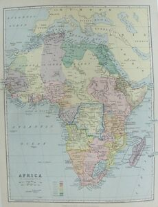 19th Century Africa Map.Old Antique Map Africa By Bartholomew C1880 S 19th Century Printed