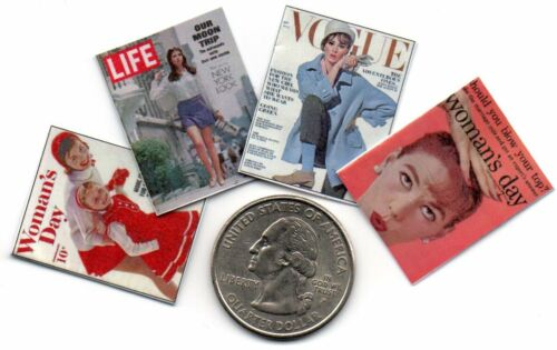 4 Miniature /'1960/'s/'   Magazines Dollhouse  1:12 scale OPENING WITH PAGES