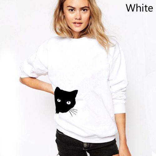 Women Cat Side Printed Sweatshirts Casual Hoodies Jumper Sports PulloverZJP