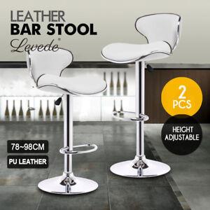 2x PU Leather Swivel Bar stool Kitchen Dining Chair Barstool Gas Lift Adjustable