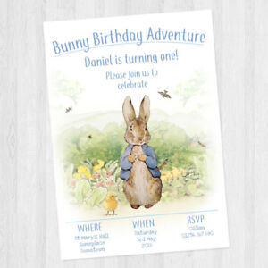 10 x personalised peter rabbit childrens birthday party invitations image is loading 10 x personalised peter rabbit children 039 s filmwisefo