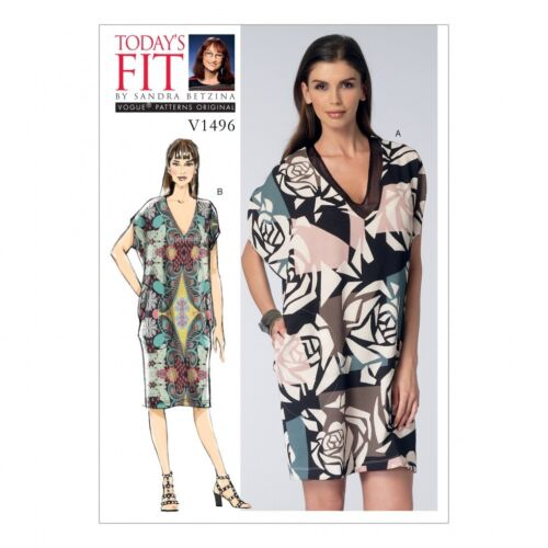 Vogue Femmes EASY sewing pattern 1496 V Col Cocoon robes Vogue - 1496-OS