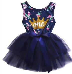89798fc09 Girls 1st Birthday Dress Outfit Tutu Skirt Navy Floral First Cake ...