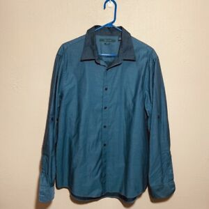 Perry-Ellis-Mens-Sz-XL-Tab-Sleeve-Button-Down-Shirt-Slim-Fit-Blue100-Cotton