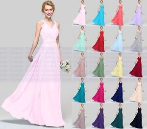New-V-neck-Long-Chiffon-Evening-Formal-Party-Ball-Gown-Prom-Bridesmaid-Dress