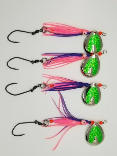 bundle of 4 spinners Deadly Coho//King Salmon Spinners