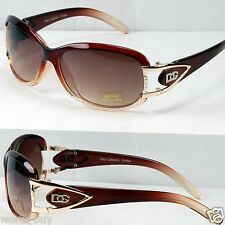 New DG Eyewear Womens Sunglasses Shades Fashion Designer Brown Retro Wrap Around