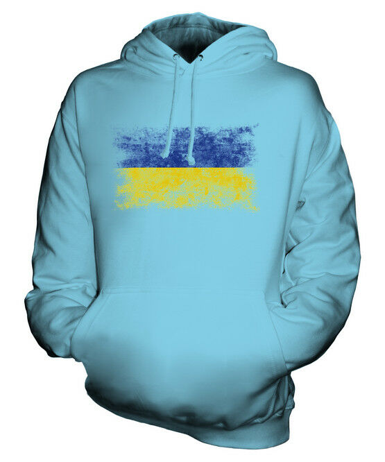 UKRAINE DISTRESSED FLAG UNISEX HOODIE TOP UKRAINA FOOTBALL UKRAINIAN GIFT