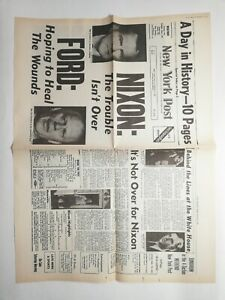 N199-La-Une-Du-Journal-new-York-post-9-aout-1974-Nixon-the-trouble-isn-039-t-over