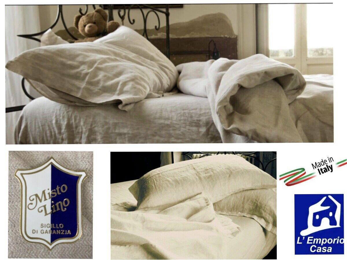 Come Si Stirano Le Lenzuola Matrimoniali.Dettagli Su Set Lenzuola Misto Lino Naturale Italiano Matrimoniale Fine Serie