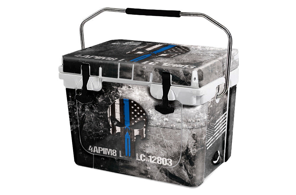 USATuff Cooler Wrap 'Fits New Mold' RTIC 20QT FULL USA Ammo Skull blueee Line