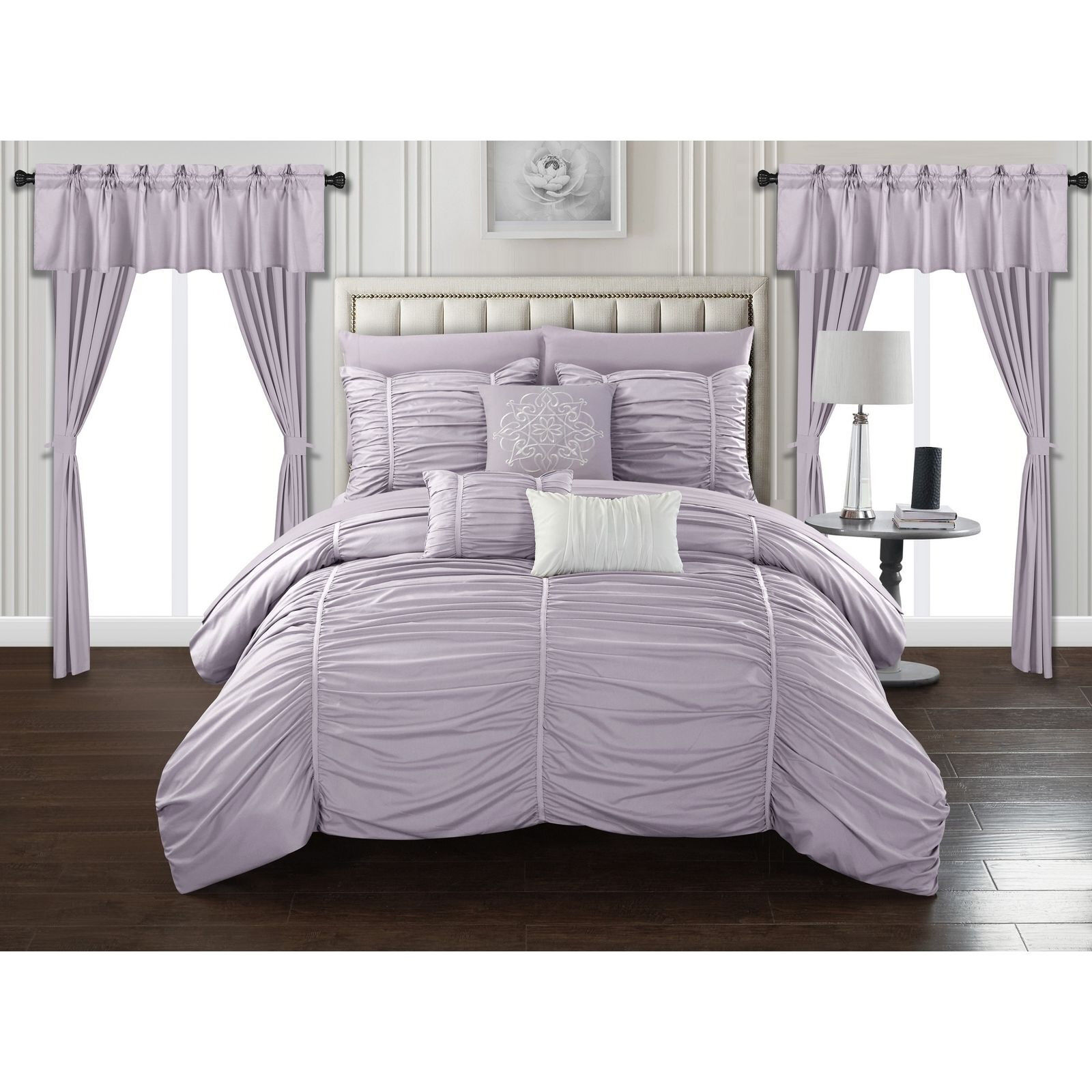 Deluxe Silky lila Ruched Striped Comforter 20 pcs King Queen Set