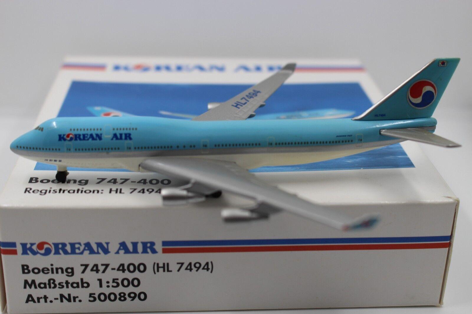 Herpa Wings 1 500 korean air boeing 747-400 (500890) (500890) (500890)  muchas concesiones