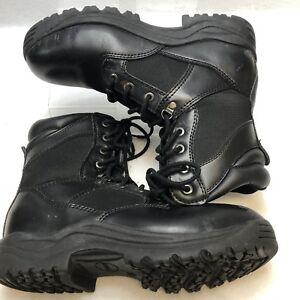 black leather steel toe combat boots