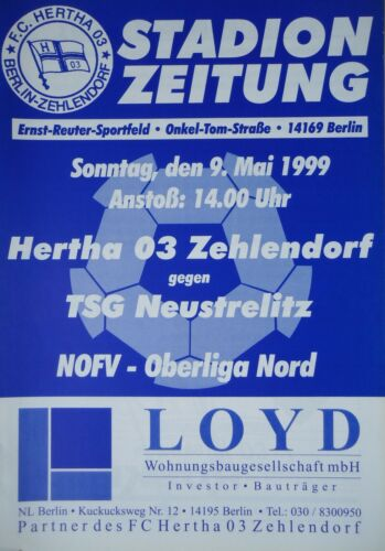 TSG Neustrelitz Programm 1998//99 Hertha 03 Zehlendorf
