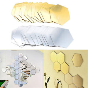 Wall-Stickers-12Pcs-3D-Mirror-Hexagon-Vinyl-Removable-Decal-Home-Decor-Art-DIY