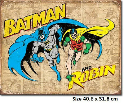 Batman & Robin Rustic  Metal Tin Sign 1826 Licensed - Made in USA