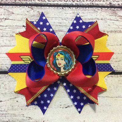 5/'/' Handmade Wonder Women //Superhero Stacked Boutique Hair Bow