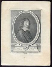 Portrait : RENE DESCARTES, Gravure originale par Dupin d'après Franz Hals-XVIII°