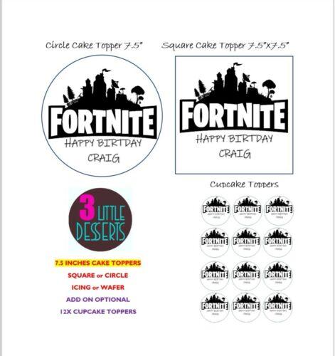 Fortnite jeu comestibles givrage OU TRANCHE Cupcake Cake Topper Anniversaire