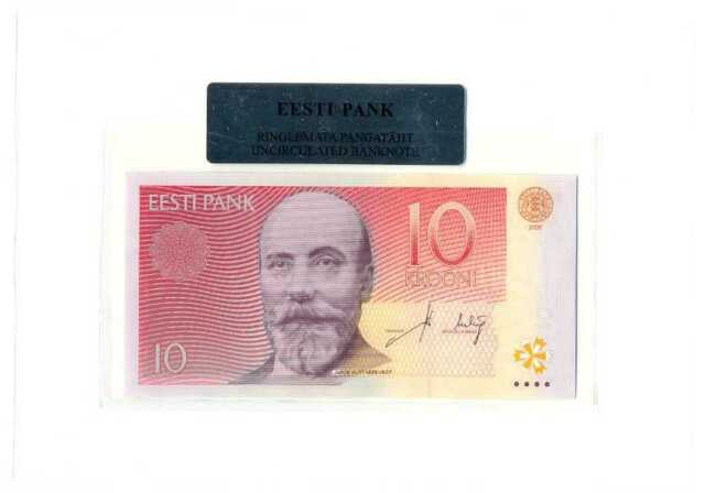 Estonia Estonian 10 Krooni 2006 UNC Banknote in Bank Holder