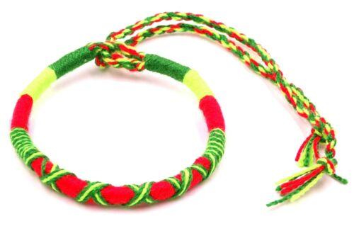 Bracelet Brésilien Amitié Macramé Coton Vœu porte Bonheur jaune rouge vert rasta