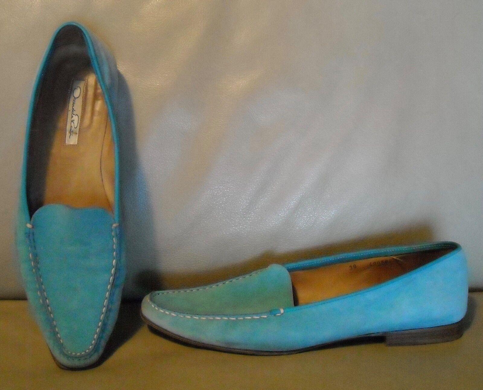 Oscar De La Renta Women's Suede Moccasin Loafers shoes Size 39  Turquoise bluee