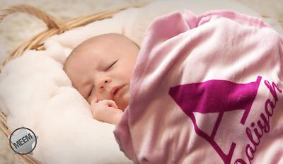 PERSONALISED FLEECE BLANKET GIRL//BOY NEWBORN BABY GIFT PINK//BLUE WRAPPED FREE