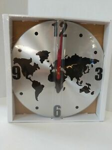 Nib Ikea Persby World Map Wall Clock Red Hands Rare 12 Metal Silver