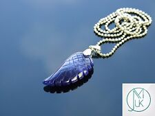 Sodalite Gemstone Angel Wing Pendant Necklace Natural Chakra Healing Stone