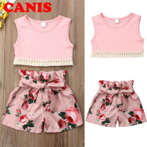 4abc190d50 Details about Kids Baby Girls Summer Outfits Clothes T-shirt Tops+Casual  Shorts Pants 2PCS Set