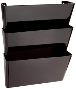 Wall Mount Hanging File Sorter Organizer Folder Holder Rack 3 Pocket Stack Black