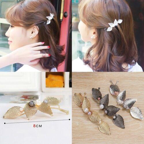 Girl Leaves Pearls Hair Clip Hairpin Barrette Bobby Pins Women Hair Accseeories