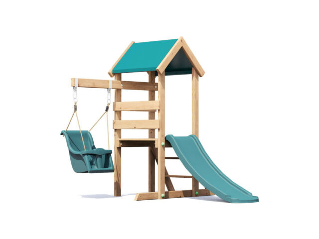 Wooden Toddlers Outdoor Climbing Frame Baby Swing Childrens Slide Microfort