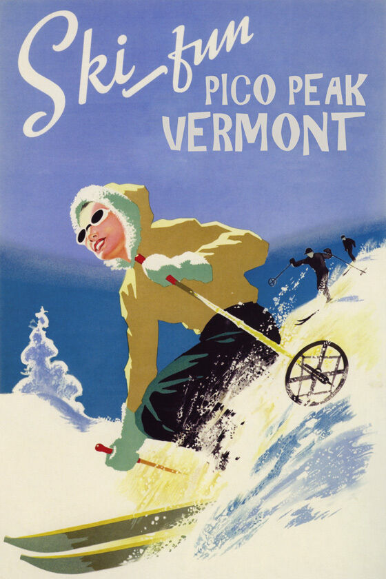 GIRL DOWNHILL SKIING SKI FUN PICO PEAK VERMONT WINTER SPORT VINTAGE POSTER REPRO