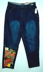 Limited-Edition-HARLEM-GLOBETROTTERS-Baggy-Sand-Wash-FUBU-PLATINUM-Jeans-36-34