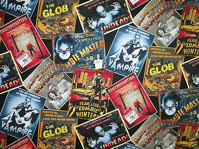 MOVIE FILM POSTERS ZOMBIES VAMPIRES MUMMY MOVIES COTTON FABRIC BTHY